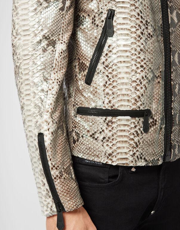 Python Leather Moto Jacket Luxury