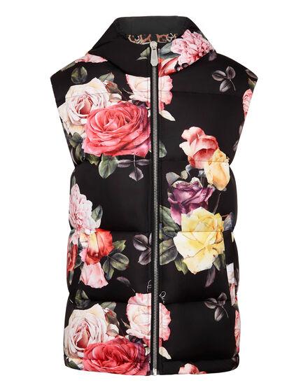Puffer Short Vest Painted Flowers
