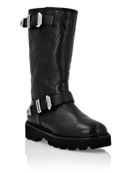 Leather Boots Lo-Heels Mid Biker Monogram