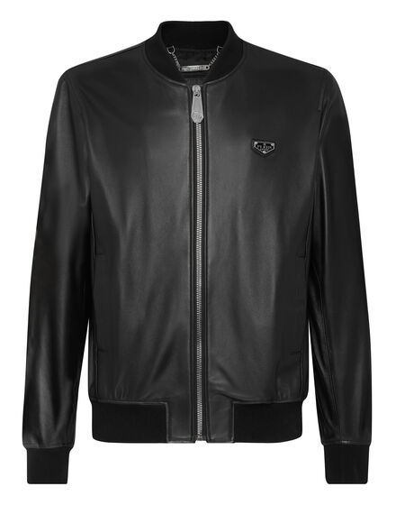 Leather Bomber Iconic Plein