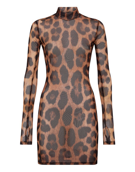 Short Dress Stretch Printed Tulle Leopard