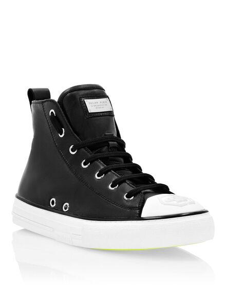 Laminated Leather Hi-Top Sneakers Megastar