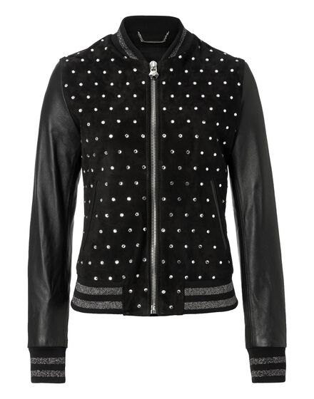 Leather Bomber Bright Snake
