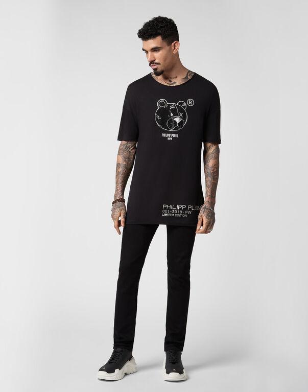 T-shirt Black Cut Round Neck Stones Teddy Bear