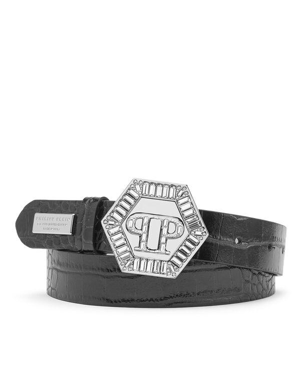 Leather Belt Cocco Print Iconic Plein