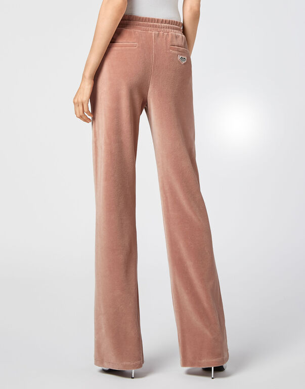 Velvet Jogging Trousers Crystal Chain
