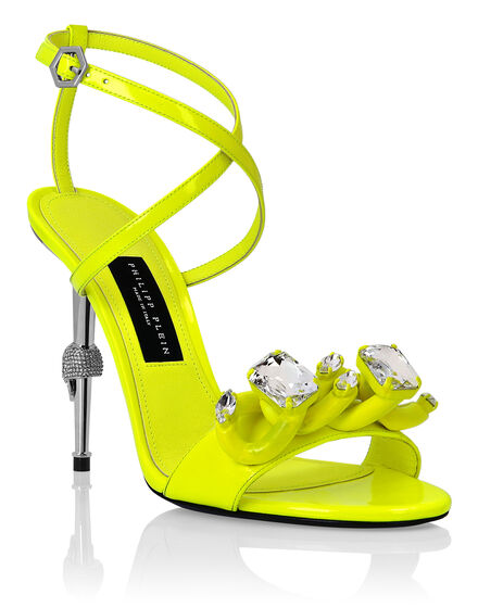Patent Leather Open Toe Hi-Heels Chains