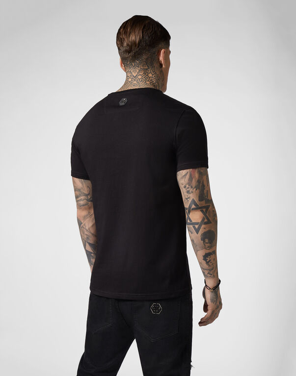 T-shirt Black Cut Round Neck Gothic Plein