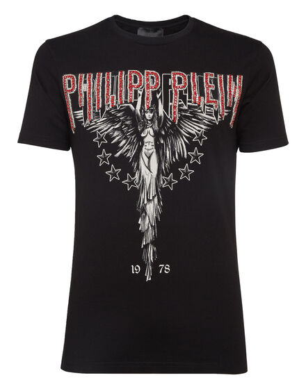 T-shirt Black Cut Round Neck Angel