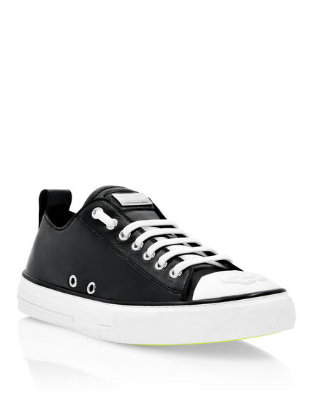 Laminated Leather Lo-Top Sneakers Megastar
