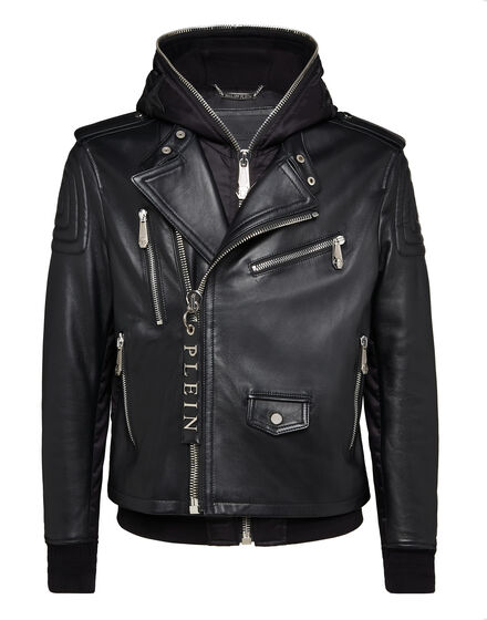 Leather Hoodie Biker Statement