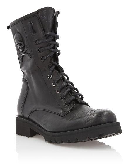 Boots Low Flat Big Skull