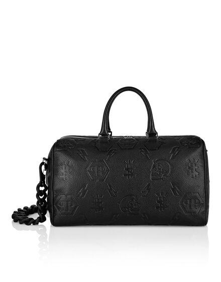 Leather Medium Travel Bag embossed Monogram
