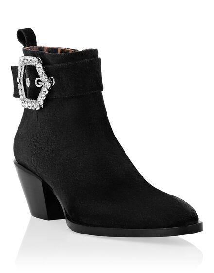 Suede Boots Lo-Heels Mid Hexagon