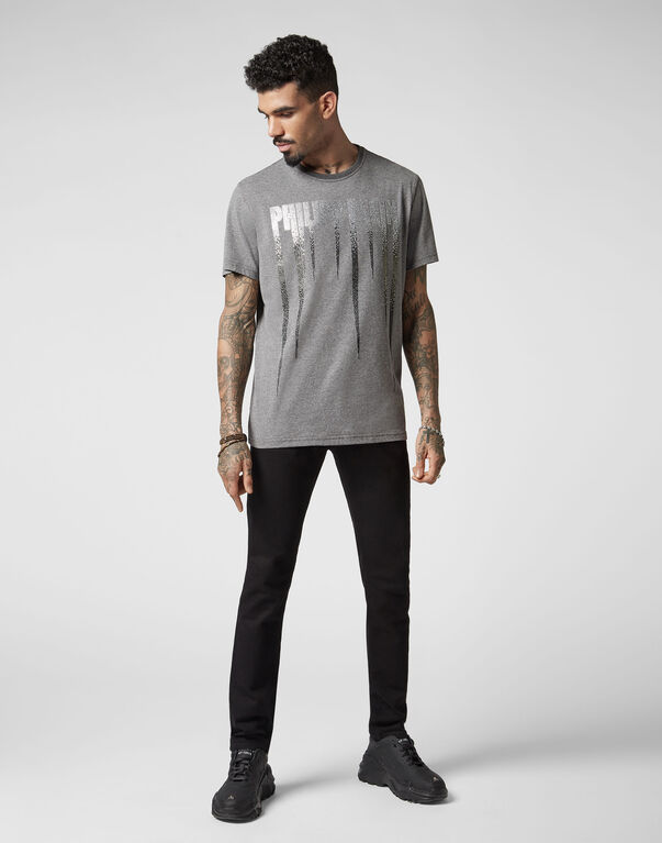 T-shirt Black Cut Round Neck Rock PP
