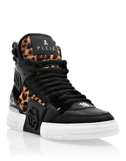 PHANTOM KICK$  Hi-Top Sneakers Leopard