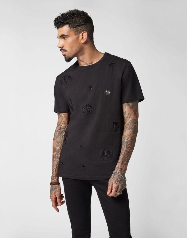 T-shirt Black Cut Round Neck Crystal