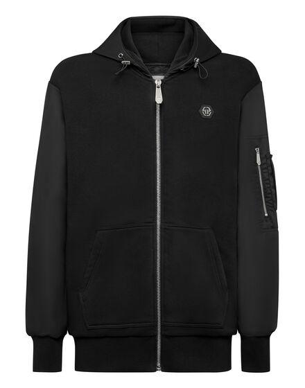 Hoodie Sweatjacket Nylon inserts Iconic Plein