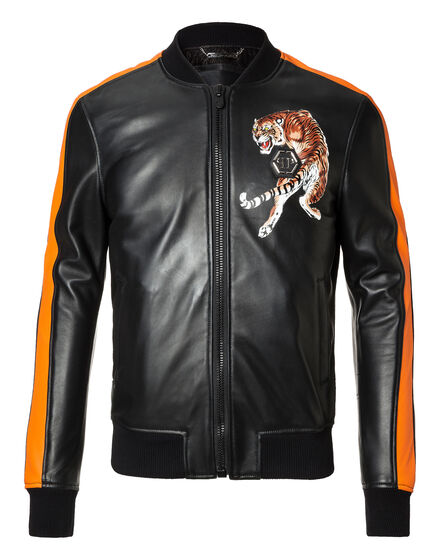 Leather Bomber Black Space