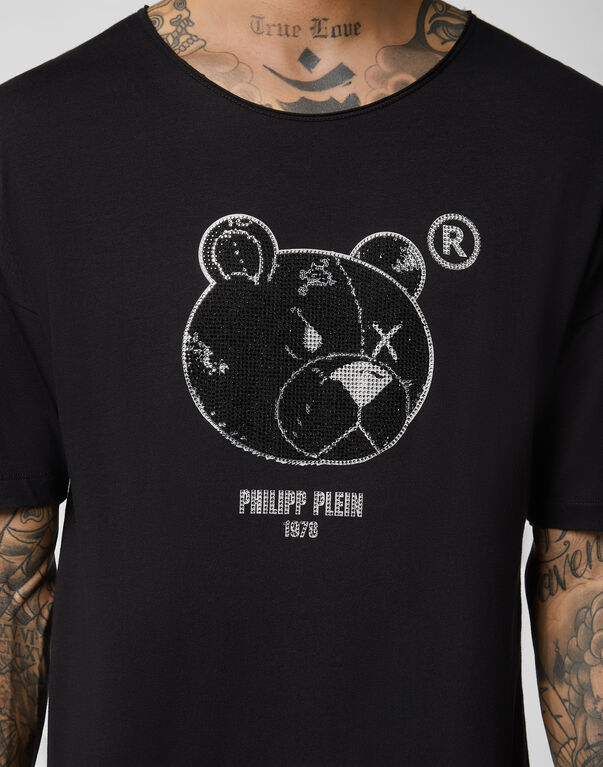 T-shirt Black Cut Round Neck Stones Teddy Bear