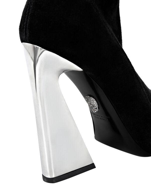 Suede Boots High Heels Mid Leopard