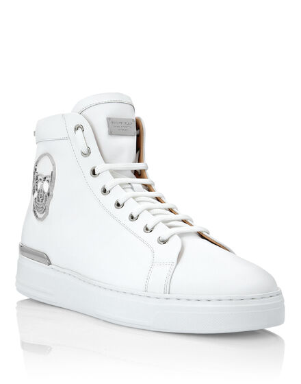 Rubber Leather Hi-Top Sneakers Skull