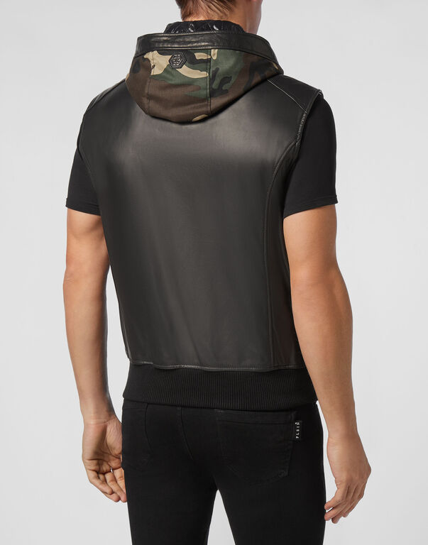 Leather Vest Short Camouflage