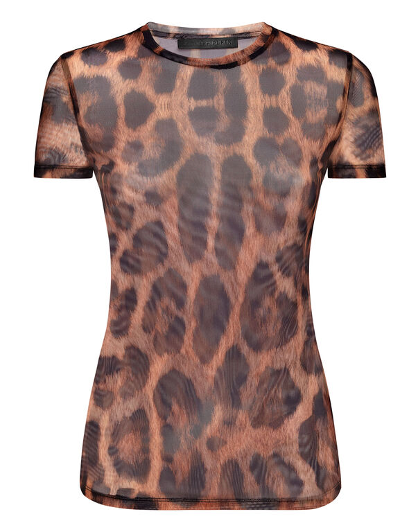 T-Shirt Round Neck SS Stretch Printed Tulle Leopard