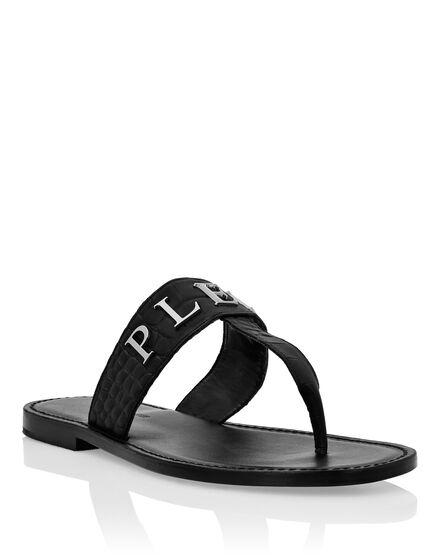Sandals Flat croco printed Statement