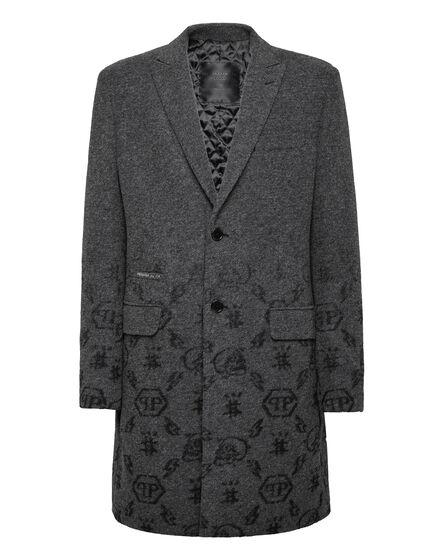 Wool sartorial jacquard Coat Monogram