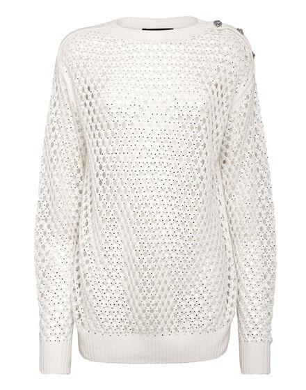 Cashmere 5 Pullover Round Neck LS Fishnet Crystal