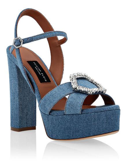Denim Sandals High Heels Crystal Hexagon