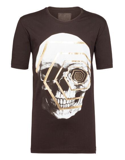 T-shirt Black Cut Round Neck Trouble