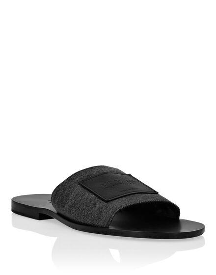Denim Sandals Flat Iconic Plein