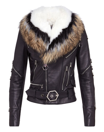 Leather Biker Elegant Fur