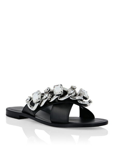 Leather Sandals Flat Chains