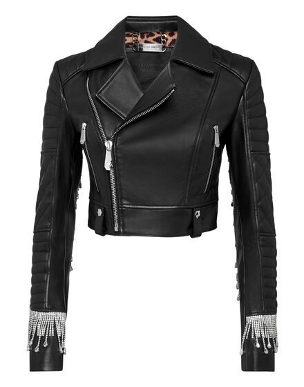 Leather Biker Crystal Fringe