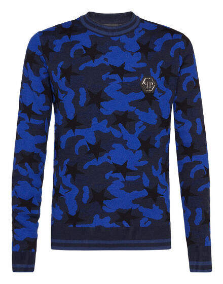 Pullover Round Neck LS Camou stars