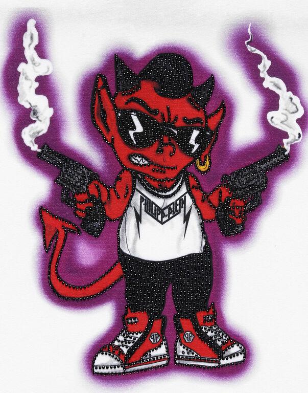T-shirt Round Neck SS stones Bad Devil