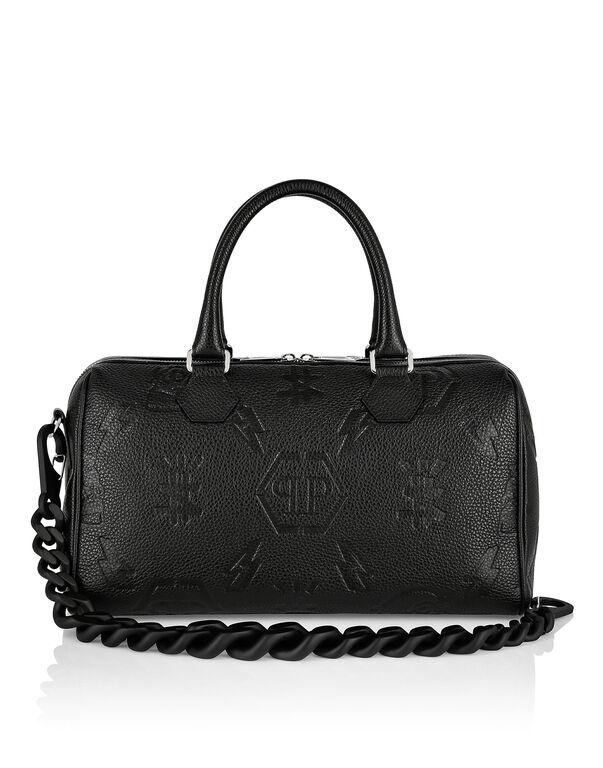 Leather Small Travel Bag embossed Monogram