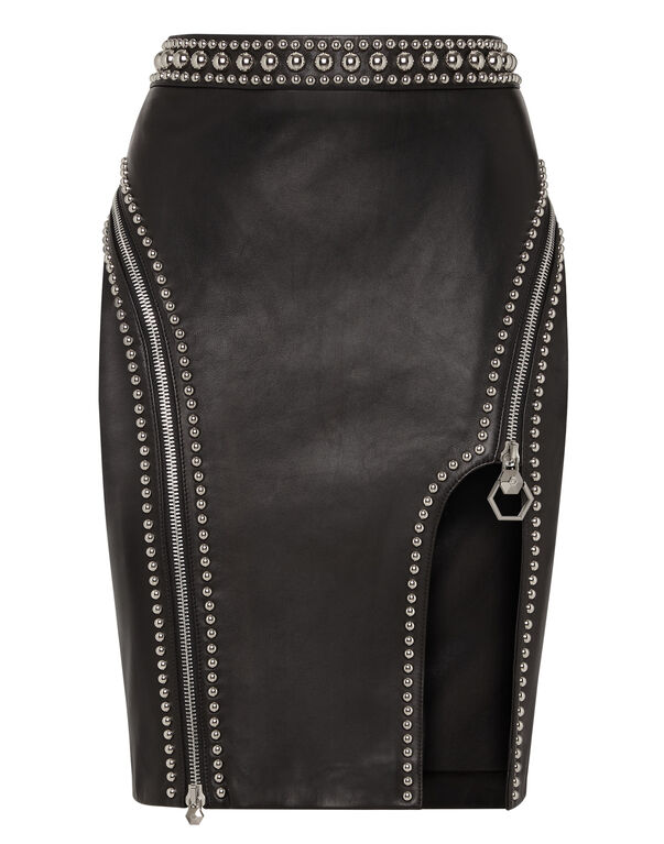 "Leather Skirt Short ""Crazy Shape"""