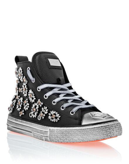 Leather Hi-Top Sneakers Crystal Megastar