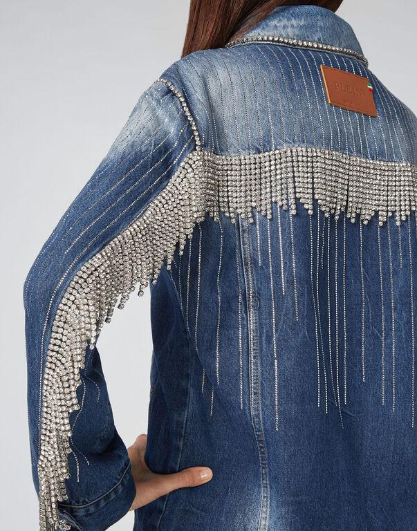 Denim Jacket Crystal Fringe