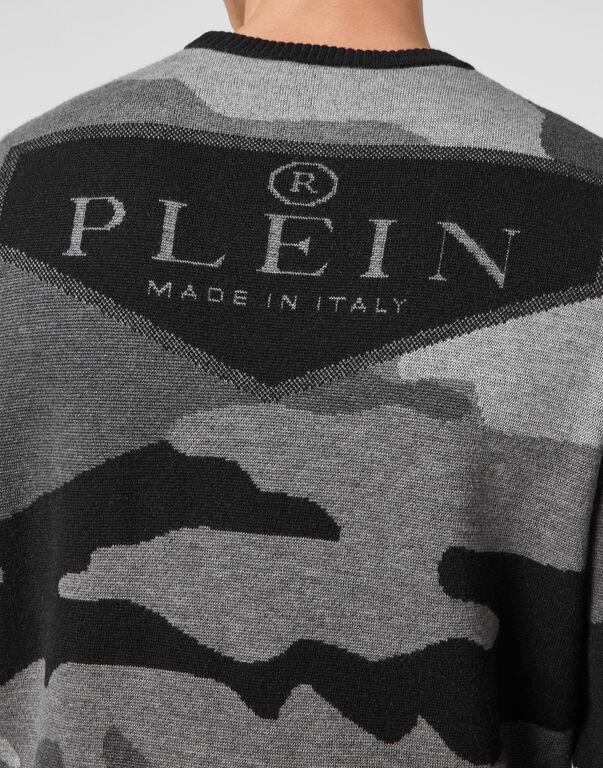 Merino wool Pullover Round Neck LS Camouflage