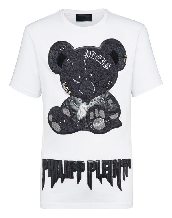 T-shirt Black Cut Round Neck Teddy Bear